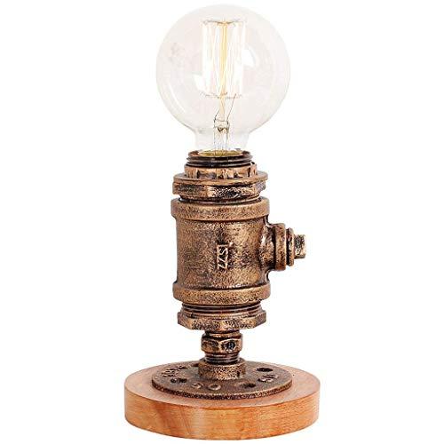 Hines Lampes de table de pipe à eau en métal industriel vintage E27 Edison base en bois table lumières Loft chevet chambre lampe Rustic Steampunk bureau lampes d'appoint pour café Bar