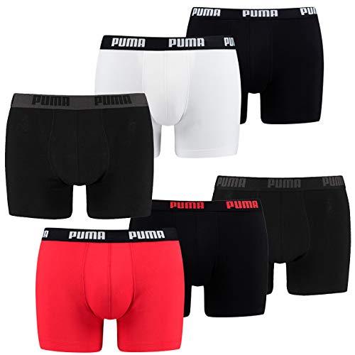 Puma 6 er Pack Boxer Boxershorts Herren Unterwäsche Schwarz, Bekleidungsgröße:S, Farbe:Weiss/schwarz-rot / 120 -