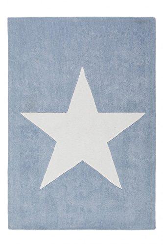 Kinderteppich Handgefertigt Pastelblau Teppiche Stern Motiv Hochwertig, Größe:120cm x 120cm