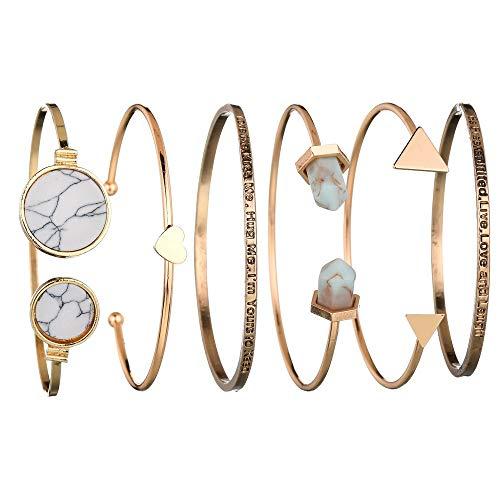 SMILEQ Satz von 6 Stück Klassische Gold Ton Liebe Glück Manschette Armreif Armbänder für Frauen (A) (Perlen Indisches Schmuck)