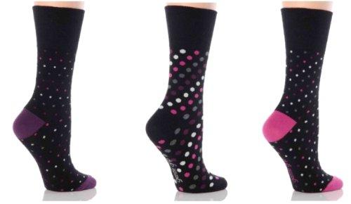 Ladies 3 Pair Gentle Grip Black Dots Socks Black