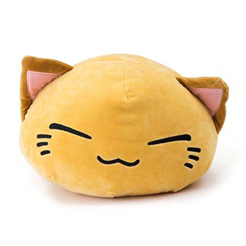 Plüschtier Neu Nemu Neko gelb yellow mit pink braunen Ohren Nemuneko Sleepy Cat Plüsch pinken Ohren NEU 40 x 30 (Katze-die Katze-plüsch)