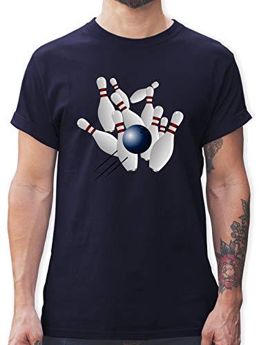 Bowling & Kegeln - Bowling Strike Pins Ball - L - Navy Blau - L190 - Herren T-Shirt und Männer Tshirt