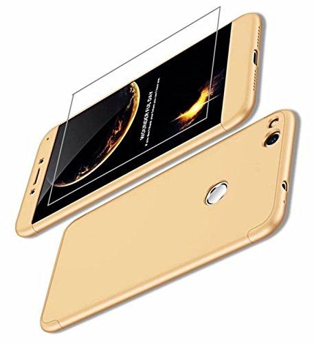 AILZH Huawei P9 Lite(2017) Hülle/P8 Lite(2017) Hülle/Honor 8 lite Hülle+Gehärteter Glas Film 360°Schutzhülle HandyHülle Anti-Schock Ganzkörper Stoßfänger 360 Grad Cover Case Golden(Gold)