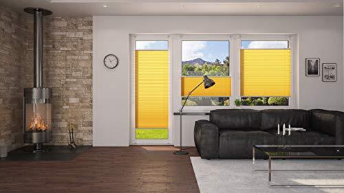 DecoProfi PLISSEE melonengelb, verspannt, Breite 110cm x 130cm (max. Gesamthöhe Fensterflügel), mit Klemmträger / Klemmfix / ohne Bohren - 7