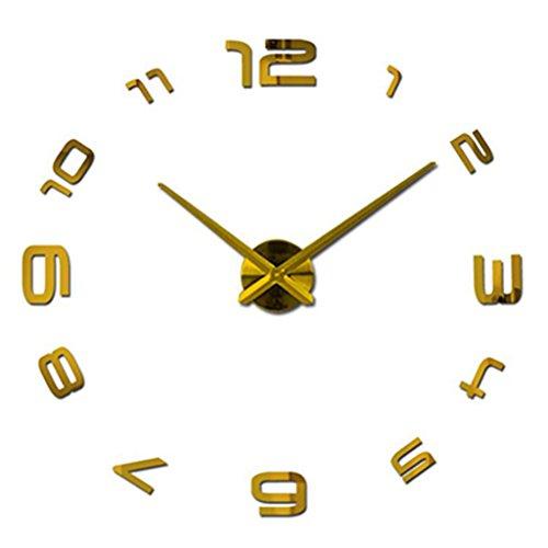 horloge murale Métal Moderm Bricolage Acrylique Métal Miroir Mur Montre Maison Décoration Super Grande Horloge (Couleur : Or)