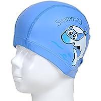 Pixnor–Gorro de natación para niños, resistente al agua, protege las orejas, azul