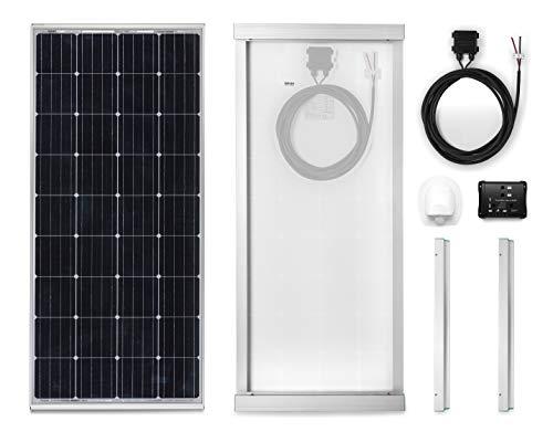 Panel Solar 170W monocristallino para Camper. Kit completo de accesorios para el montaje y de regulador 10 A