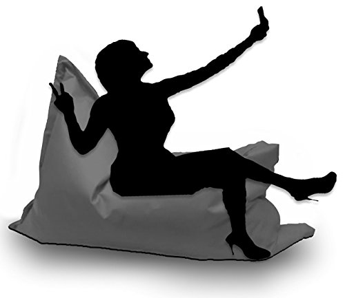 Sitzsack XL 145 x 100 cm mit Füllung - Farbe & Größe Wählbar- In & Outdoor Sitzsäcke Sessel Kissen Sofa Hocker Sitzkissen Bodenkissen (ca.145x100cm, Anthrazit)