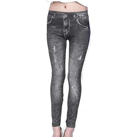 SODIAL(R) Jeans Denim Mujer Sexy flacos de las polainas Jeggings de las medias del estiramiento pantalones pantalones - Negro