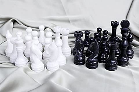 Black and White Marble Big Chess Figures - Total 32