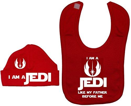 Je suis un Jedi comme Mon père avant me Bavoir et Bonnet/casquette 0à 12mois Rouge - Rouge