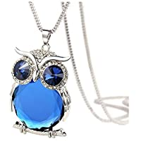 Cebbay Necklace for Women Retro Art Owl Pendant Diamond Sweater Chain Long Necklace Jewelry