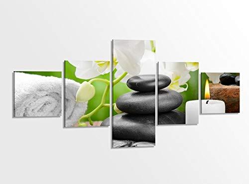 Leinwandbild 5 tlg. 200cmx100cm Wellness Kerze Orchidee Steine Bilder Druck auf Leinwand Bild Kunstdruck mehrteilig Holz fertig gerahmt 9AB119