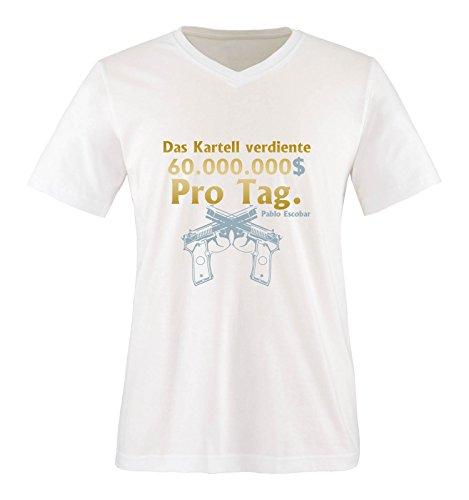 Comedy Shirts - Das Kartell verdiente 60 Millionen Dollar pro Tag. - NARCOS - Herren V-Neck T-Shirt - Weiss / Gold-Eisblau Gr. XL Disney Mickey-dollar
