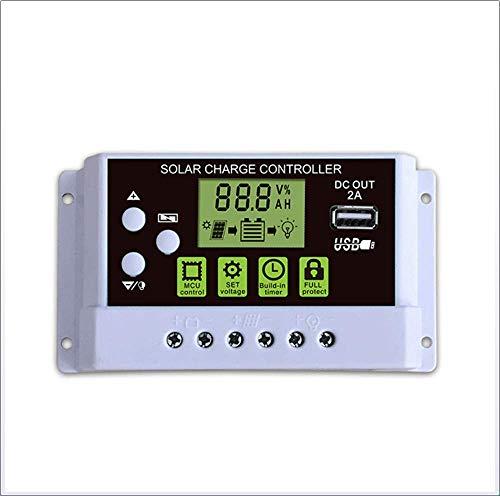 CHRRI Solar Controller, LCD-Display 12V/24 Automatik-Schalten, VPWM10A/20A/30A Solar-Laderegler Intelligente Lithium-Batterie/Blei-Säure-Laderegler,20A