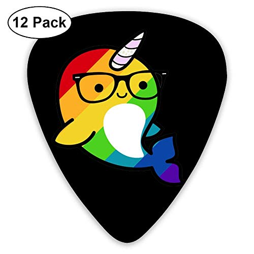 Funny Rainbow Gay Narwhal Sunglass 351 Shape Classic Picks 12 Pack For Electric Guitar Acoustic Mandolin Bass -