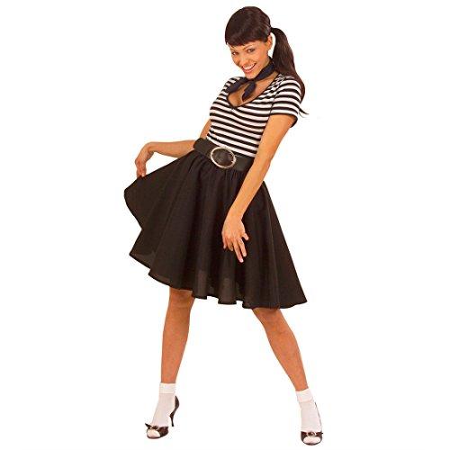 Roll Tellerrock schwarz 50er 60er Jahre Petticoat Rockabilly Damenrock Grease Unterrock Mottoparty Kostüm Zubehör (50er Grease)