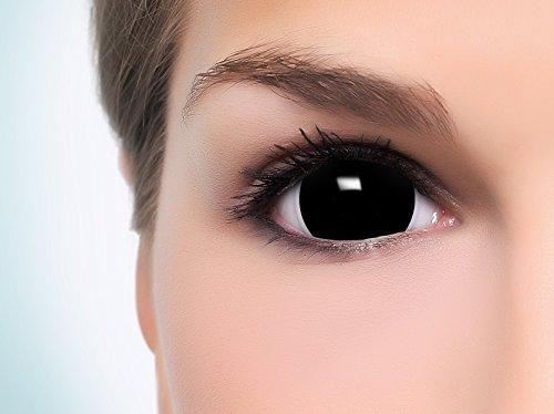 Farbige Mini Black Sclera Kontaktlinsen Lenses inkl. 10ml Kombilösung und Behälter - Top Linsenfinder Markenqualität, 1Paar (2 Stück) - 2