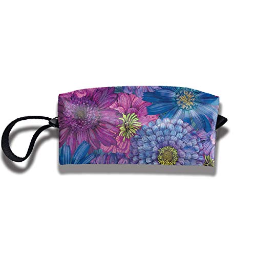 Blooms Blue Flowers Print Lightweight Cosmetic Pouch Bag Cool Makeup Junkie Bags Travel Cosmetic Bag Pouch with Zipper (Side Flower Geldbörsen)