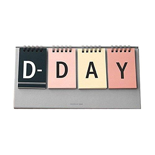D-Day Ewiger Schreibtisch Kalender D-Day Count Down Flip Kalender Desktop Staffelei Kalender Spiralbindung Kalender Planer, dekorative Aufkleber enthalten, 25x 12cm multi - Desktop-kalender-easel