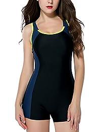 CharmLeaks Womens One Piece Boyleg Swimsuit Sports Swimwear Beachwear Athletic Swimming Costume
