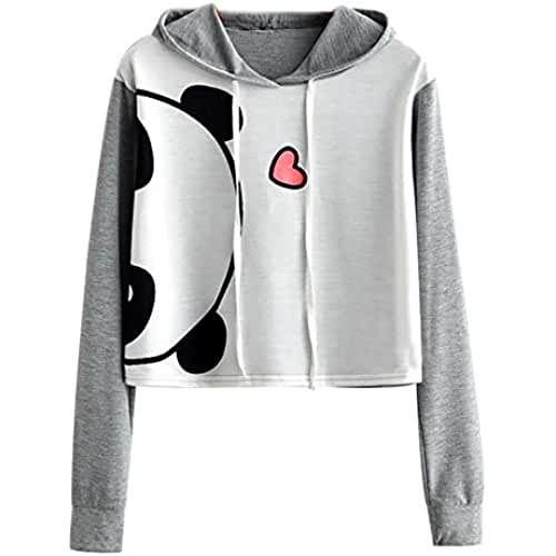 ropa kawaii para los mas guays Mujer Kawaii Encapuchado Suéter, Covermason Blanco y Gris Animal Impresión Sudaderas con Capucha