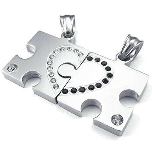 AMDXD Schmuck Edelstahl Herren Halskette Vintage Jigsaw Puzzle Zirkonia Punk Anhänger Silber (Vintage Jigsaw Puzzles)