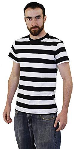 Französisch Phantasien Kostüm - ILOVEFANCYDRESS Erwachsene SCHWARZ UND WEIß GESTREIFT Kurzarm T-Shirt - HOCHWERTIGE Tshirt 100 % Baumwolle - PERFEKT FÜR FRANZÖSISCH Mime ODER RÄUBER Phantasie Kleid KOSTÜME - MEDIUM