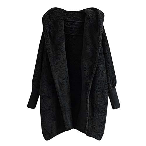 Zegeey Damen Strickjacken Hooded Sweatshirt Coat Winter Warm Plush Pockets Cotton Top Kurzarm...