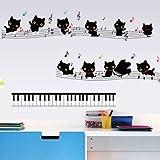 Wandaufkleber Wandtattoo Wohnzimmercartoon Musik Kinderzimmer Kindergarten Musik Klassenzimmer Hintergrund, 7253 Schwarze Katze Klaviernoten, Groß