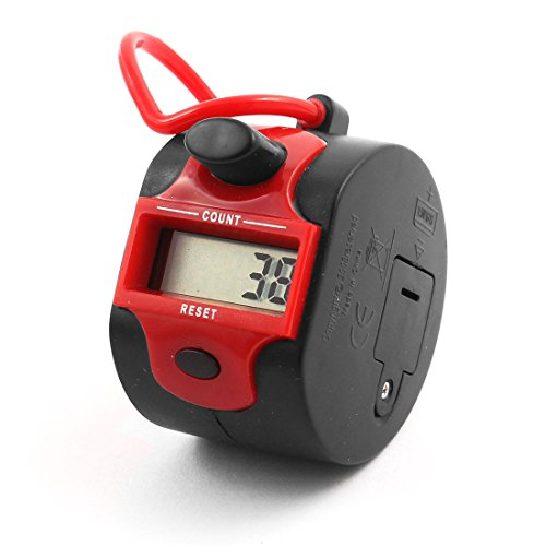 sourcingmap® Büro Hand Halter 5 Ziffern LCD Display Zähler Klick Ziehen schwarz rot