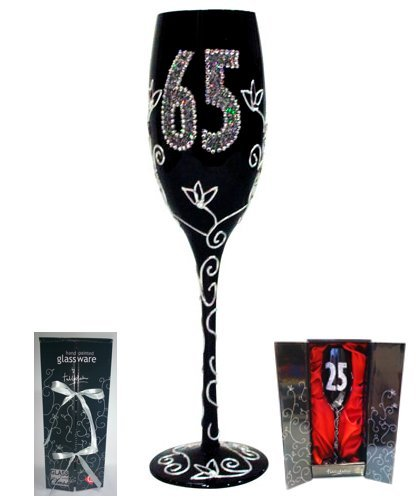 Framan Copa Cava (CHAMPÁN) para Regalo Original DE CUMPLEAÑOS, con LOS NÚMEROS DE Las Edades Grabados (65 AÑOS Negra)
