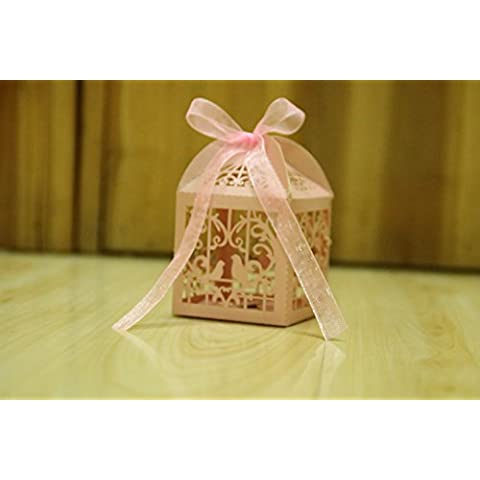 BUYBUYMALL 50PCS Laser Cut Heart Love Birds Wedding Favor Box Bridal Shower Party Candy Sugar Gift Boxes with Ribbons (pink) by BUYBUYMALL