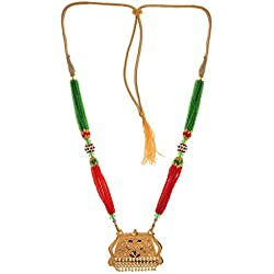 Weldecor® Traditional Mahroon And Green GlassesBeads Women's Pride Traditional Gold Plated Mangalsutra For Women