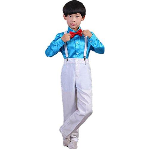 Wgwioo kinder tanz performance kostüm chor kleider grundschüler student shirt set blumen boy shirt poetry recitation bekleidung gruppe team , light blue , (Rumba Boy Kostüm)