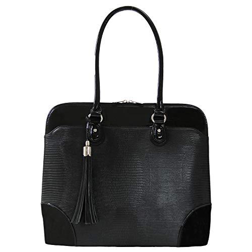 Handgefertigte Designer-handtaschen (BFB Laptop Tragetaschen für Frauen-33cm Laptop-Umhängetasche-Designer Handgefertigte Handtasche-Qualität, DASS 's Made to Last schwarz schwarz)