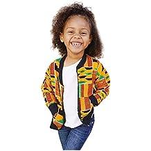 Proumy - Chaqueta corta para niños y niñas, manga larga, estampado africano, chaqueta corta, cálida