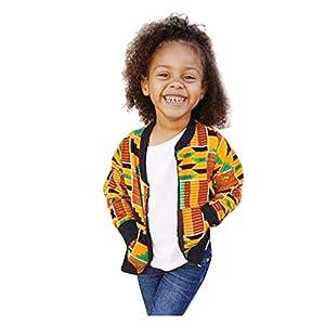 HEETEY - Conjunto de ropa y abrigo para niña, para niña, para otoño, Dashiki, cortavientos africano, abrigo cálido para exterior, chaqueta con lazo 10