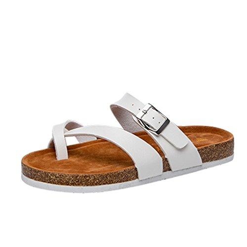 ZKOO Zehentrenner Hausschuhe Damen Riemchen Sandalen Kork Fußbett Pantoletten Sandalen Schlappen Flache Schuhe mit Metallschnalle Weiß
