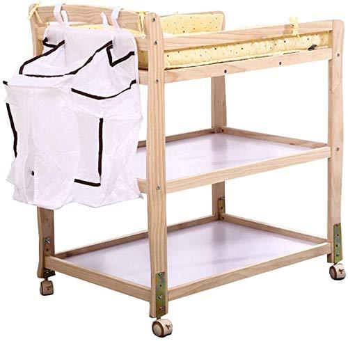 LIANYANG Wickeltisch klappbar tragbare Station Einheit auf Rädern,Infant Windel Kommode Tisch mit Aufbewahrungstasche,höhenverstellbar,(Naturholz)