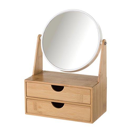 Espejo de 2 aumentos blanco de bambú nórdico para cuarto de baño Fantasy - Lola Home