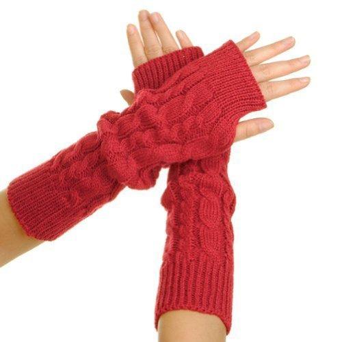 Butterme 1 Paar modische Winter wärmer Frau Lady Mädchen Gestricktes Crochet lange weiche Hand Handschuhe Arm lange Sleeve überfallen Fingerless Handschuhe dehnbar Knitting Daumen Loch Handschuhe Fäustlinge Rote (Arm Handschuhe Wärmer)