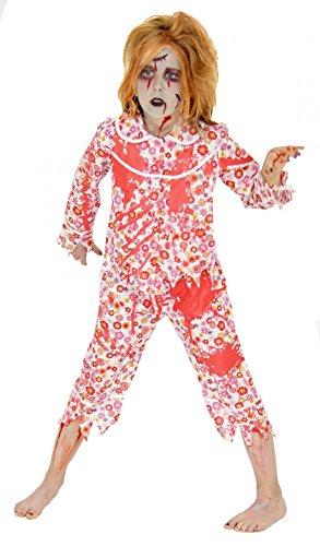 Foxxeo blutiges Zombie Kostüm für Mädchen Schlafanzug Pyjama Kostüme Halloween Fasching Karneval Größe 158-164