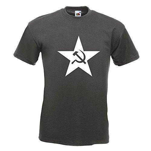 KIWISTAR - Hammer und Sichel Stern T-Shirt in 15 verschiedenen Farben - Herren Funshirt bedruckt Design Sprüche Spruch Motive Oberteil Baumwolle Print Größe S M L XL XXL Graphit