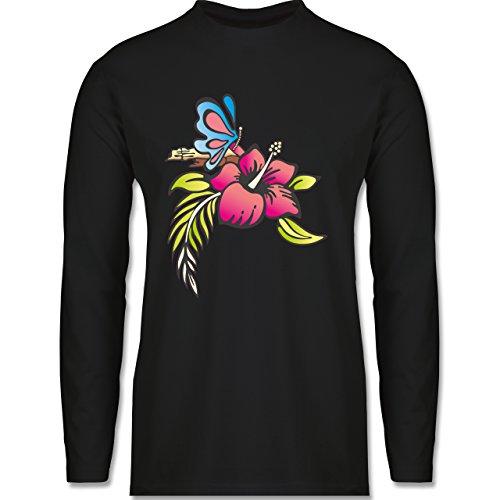 Shirtracer Blumen & Pflanzen - Blumen - Herren Langarmshirt Schwarz