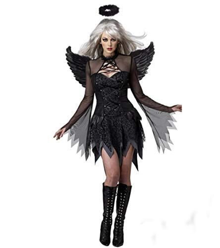 wnddm Hochwertige Cosplay Maskerade Halloween Cosplay Kostüm Vampire Queen Hexe Braut Kleid ausgestattet Black Angel - Vampir Angel Kostüm