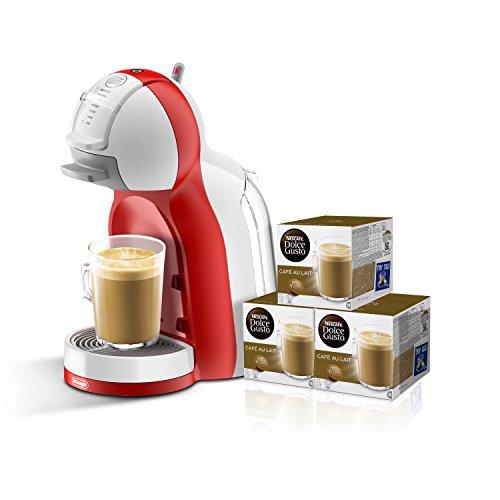 Pack De'Longhi Dolce Gusto Mini Me EDG305.WR - Cafetera de cápsulas, 15 bares de presión, color blanco y rojo + 3 packs de café Dolce Gusto Con Leche