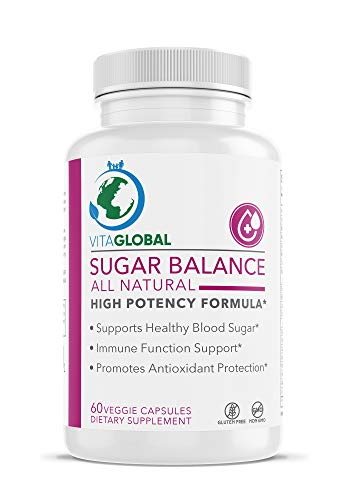 VITAGLOBAL Sugar Balance | All Natural High Potency Formula | Support Heathy Blood Sugar | Immune Function Support | Promote Antioxidant Protection | Control High Glucose | by 60 Capsules - Balance Antioxidant