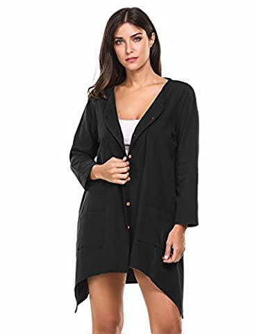 Meaneor Women's Loose Fit Button Down Linen Blouses Cardigan With Pockets